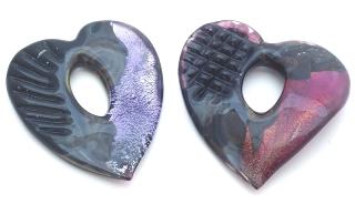 ZN06C Подвеска-сердце Кальцедон муранское стекло