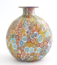 F20 Ваза-бутылка сплюснутая h14cm муранское стекло