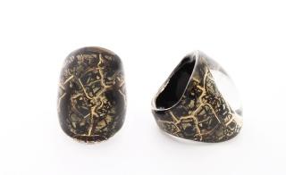 NV01 Кольцо Бонди' удлиненное Шамаре' 3,5см цвет черно-золотой