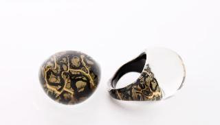 NV01 Кольцо Бонди' круглое диам.2,5см цвет черно-золотой