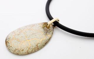 NV03 Подвеска Бонди' в форме капли 4х6см цвет слоновая кость-золото