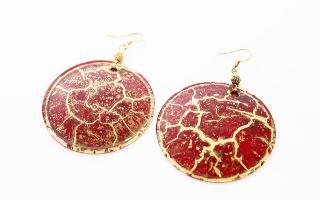 NV04 Серьги Бонди' круглые диам.5 см цвет красно-золотой