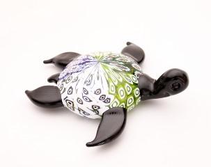 648/D Статуэтка Морская черепаха сине-зеленая (длина 15см) муранское стекло