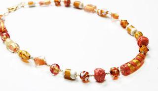 Co11-11/maz Колье длинное 62см Оранжевый рай муранское стекло