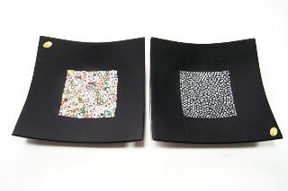 PNew 29x29см Блюдо черное с мурринами 2 цвета муранское стекло