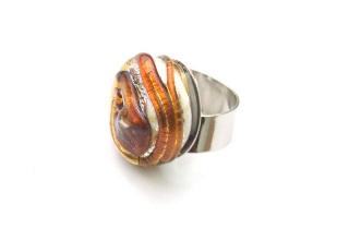 RS10-A Кольцо Раковина устрицы муранское стекло 5 цветов
