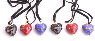VY559 Подвеска сердце 3 цвета цветное стекло