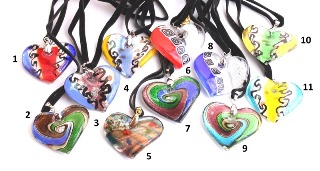 VY569 Подвеска сердце 4,5х4см различные цвета цветное стекло
