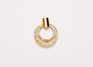 NV03 Подвеска круглая 5,5см тип Дрим цвет слоновая кость-золото муранское стекло