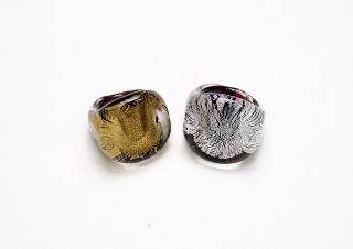 RD10-A Кольцо кубической формы с золотом или серебром муранское стекло