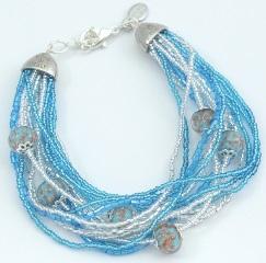 CN62/63-B Бисерный браслет для колье Мимоза и Тюльпан 16 нитей цвет бирюзовый с серебром