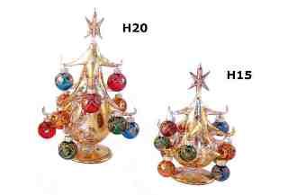 SM4248 Елка золотая на подставке с шарами и звездой H15см