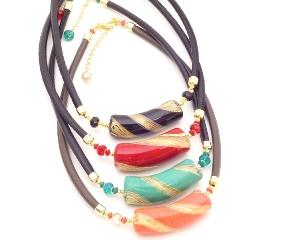 Vac/С9159 Колье Майя с крупным центральным элементом-тубой 6 цветов муранское стекло и натуральная кожа