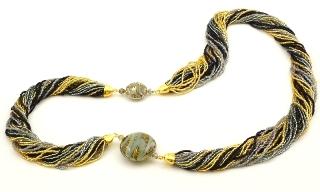 Vac/С9910(3) Колье Черное золото на 24-рядном бисере 80см муранское стекло