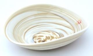 Yalos 9193 Блюдо миньон 18х14х5см дизайн Avorio striato муранское стекло