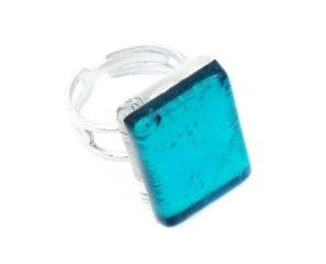 Арт. 02 морская волна - кольцо 1,5x2 муранское стекло