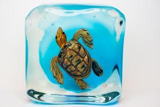 Аквариум с черепахой h - 18/18 см, фабрика Obal, муранское стекло