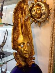 Маска венецианская карнавальная на трости 80/18 см. Фабрика KARTA RUGA, ручная работа