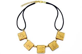Арт.01 золотой - колье с 5 элементами муранское стекло