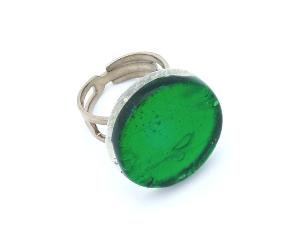 Арт.02 зеленый - кольцо круглое 1,8см  муранское стекло