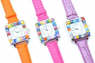 Часы кварцевые с большим квадратным циферблатом и мурринами микс 11 цветов