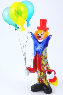 MD11 Клоун Джуди с воздушными шариками и фляжкой h28cm муранское стекло