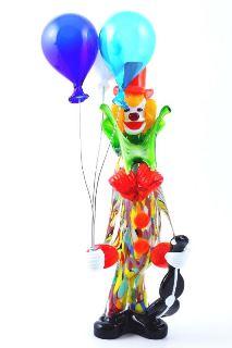 MD11 Клоун Олл с воздушными шариками и скрипкой h28cm муранское стекло
