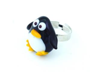 LV29 Кольцо Пингвин 2,5 см муранское стекло