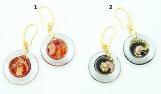 VC22 Серьги Атолл диам. 2-2,2см, цвет канта прозрачный муранское стекло