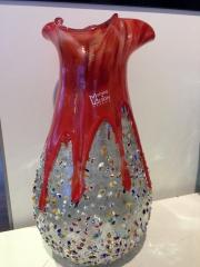 Ваза красная в серебре с мурринками (наружу), h- 30 см, фабрика Murano Design, ручная работа