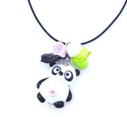 LV26 Подвеска Панда с цветами и листиками 5,5 см муранское стекло