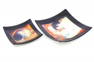 N40 Блюдце-конфетница 9х9см Климт Объятия (Материнство) муранское стекло