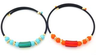 2017-83/maz Колье Касабланка туба и круглые бусины на коже 2 цвета муранское стекло