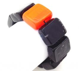 2017-75 Браслет Reason цвет черно-оранжевый муранское стекло
