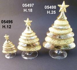 05497 Елка стеклянная цвет золотой 18 см