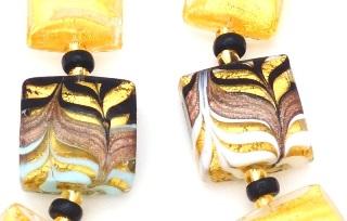 2017-77 Серьги Золотой лес. Анри Руссо. 2 цвета, муранское стекло