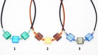 S827(1) Колье Лолита 3 квадрата 20х20 на коже 50+4 см  муранское стекло