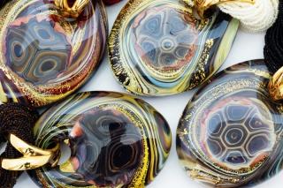 Vac/С7542 (2) Колье Гемма на бисере черепаховый узор муранское стекло