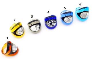 VM0493  Кольцо Silver Eye различные цвета муранское стекло