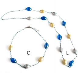 GM002 Soranzo Колье короткое C 50см цвет серо-голубой муранское стекло