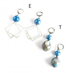GM0029 Peggy Серьги -Е- длинные цвет голубой муранское стекло