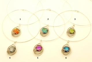 RS77 Колье Futura с бусиной дикроико 6 цветов муранское стекло