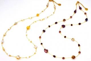 Vac/С9031 Колье Нежность цвет аметист и бело-золотой 80+5 см муранское стекло