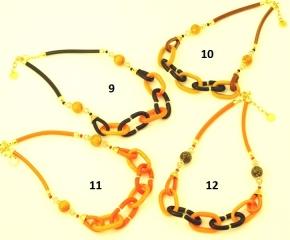 Vac/С9950(3) Колье Сердечные узы на коже 48+4 см муранское стекло