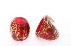 NV04 Кольцо Бонди' удлиненное Шамаре' 3,5см цвет красно-золотой