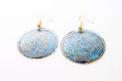NV14 Серьги Бонди' круглые диам.5 см цвет сине-золотой
