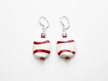 Co11-12/maz Серьги красно-белые выдутые муранское стекло