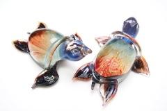 TP10 Скульптура Морская черепаха 24см с хальцедоном муранское стекло