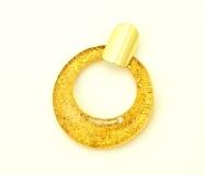 NV16 Подвеска Дрим 5,5см с золотом на желтом фоне муранское стекло