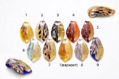 """IV08-p Подвеска """"Павлиний хвост"""" 5,7Х3,5см муранское стекло 9 цветов"""